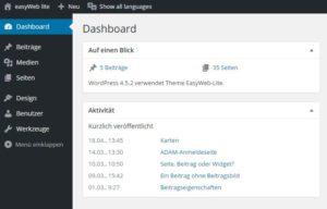 Dashboard Ansicht für Benutzer mit Administratorenrechten.